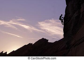 Mountain Climber Silhouette - Man rock climber silhouette...
