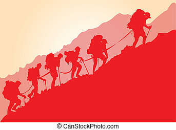 A group of mountain climbers in red silhouette.