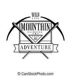 Mountain climbing adventure logo. Mountain hiking,...