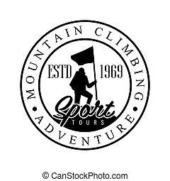 Mountain climbing adventure tours logo. Mountain tourism,...