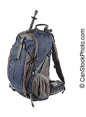 mountain-climbing bag isolated on white