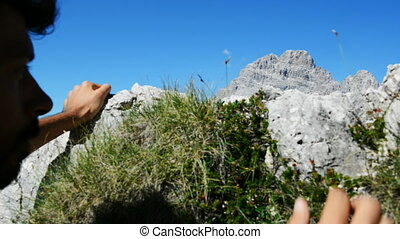 Mountain climbing - Breathtaking view over Dolomites...
