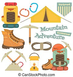 mountain climbing - Camping and Mountain Hiking Objects. ...