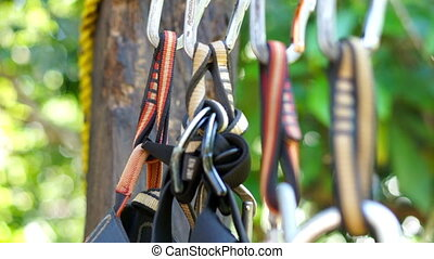 Mountain Climbing Carabiner - A dolly shot of mountain...