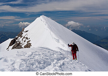 Mountain climbing - Climbing  the nowy  mountain ridge