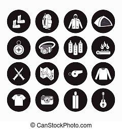 mountain climbing equipment button icon for hiking, scouting...