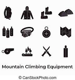 mountain climbing equipment icon for hiking, scouting, ...