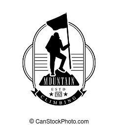 Mountain climbing logo. Mountain tourism, exploration label,...