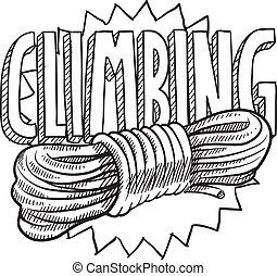 Mountain climbing sketch - Doodle style mountain climbing...