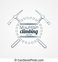 Mountain climbing. Vector logo