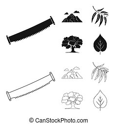 Mountain, cloud, tree, branch, leaf. Forest set collection icons in black, outline style bitmap symbol stock illustration web.