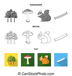 Mountain, cloud, tree, branch, leaf. Forest set collection icons in flat, outline, monochrome style bitmap symbol stock illustration web.