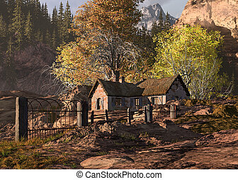 Mountain Cottage And Gate Landscape - A fall scene of a...