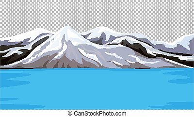 Mountain covered with snow next to the water on transparent scene