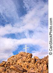 Mountain Cross - A mountain cross with a dramatic sky...