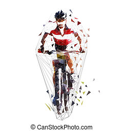 Mountain cycling, low polygonal mtb biker, isolated...