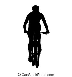 Mountain cycling, vector silhouette, front view