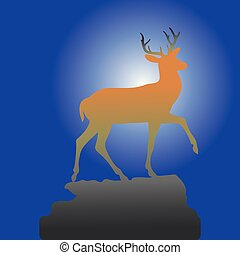 Mountain deer on the top of the hill, brown silhouette on the background of the night,