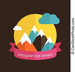 Mountain design with ribbon - Mountain design background...
