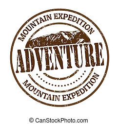 Mountain expedition, adventure rubber stamp on white, vector illustration
