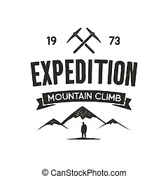Mountain expedition label with climbing symbols and type design - mountain climb. Vintage letterpress style. Outdoor activity emblem for t-shirt, mug, clothing print. isolated on white