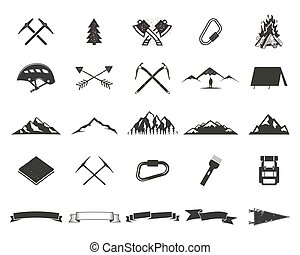 Mountain expedition silhouett icons set. Climb and camping...
