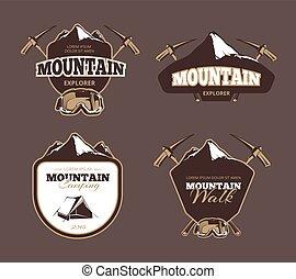 Mountain exploration retro vector emblems, labels, badges, logos set