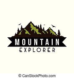 Mountain Explorer Adventure Logo, Icon, Sign Badge Vector Design
