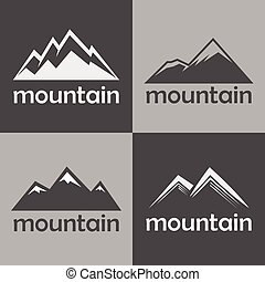 Mountain flat icons on gray background. Silhouette rock for ...