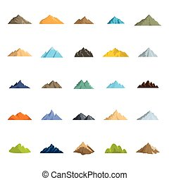 Mountain flat icons set vector illustration for design and web isolated