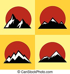 Mountain flat icons with red sun on yellow background