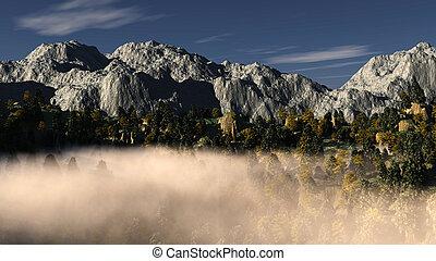 Mountain fog landscape
