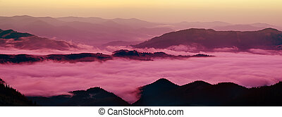Mountain foggy sunrise