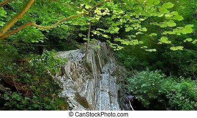 Mountain forest cliffs. Mountain river flows nature...