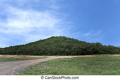 Mountain forest landscape on the blue sky background in the...