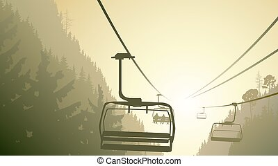 Mountain forest with ski lift.
