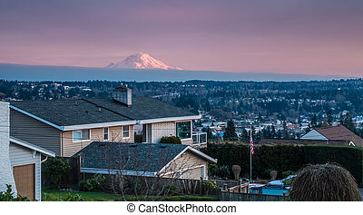 Mountain Fron Des Moines - A view of Mount Rainier from a ...