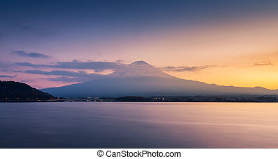 mountain Fuji and lake kawaguchi at sunset