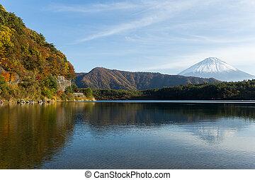 Mountain Fuji and lake saiko at autumn