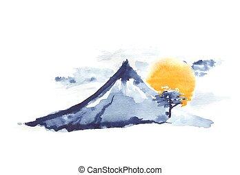 Mountain Fuji and sun, japanese art, vector - Mountain Fuji...