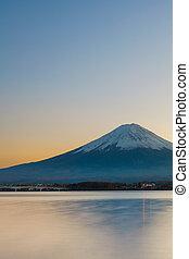 Mountain Fuji during sunset