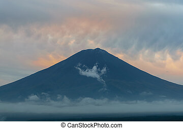 Mountain Fuji in Japan with Clouds at sunset