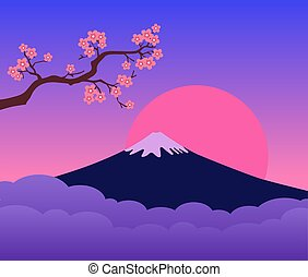Mountain Fuji Japan Sunset and Cherry Blossoms Branch. Colorful landscape. Symbol of Japan.