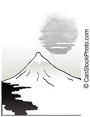 Mountain Fuji, japanese art illustration - Mountain Fuji,...