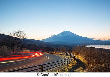 Mountain Fuji Landscape at dusk - Fuji fujisan at dusk from ...
