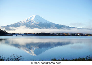 Mountain Fuji view from the lake, The symbol of Japan.