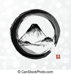 Mountain Fujiyama in black enso circle hand-drawn with ink in traditional Japanese style sumi-e on white glowing background. Contains hieroglyph - happiness.