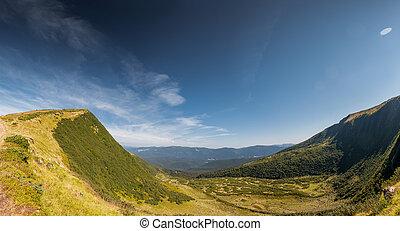 Mountain green valley stream landscape