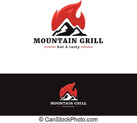 Mountain grill restaurant logo. Minimalistic logotype with fire.