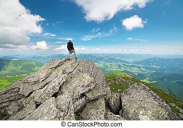 mountain., højdepunkt, mand